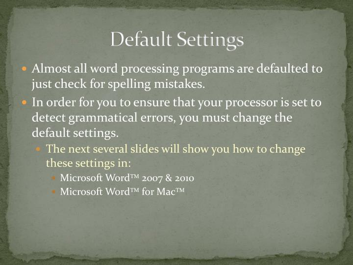 Default Settings