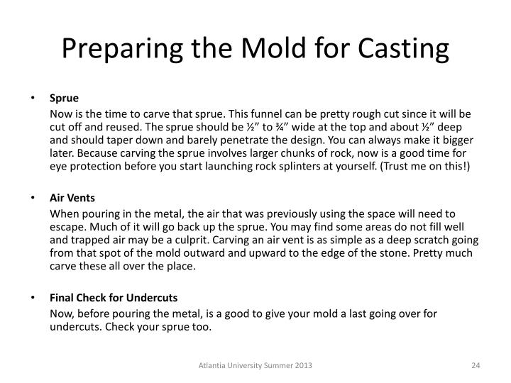 Preparing the Mold for Casting