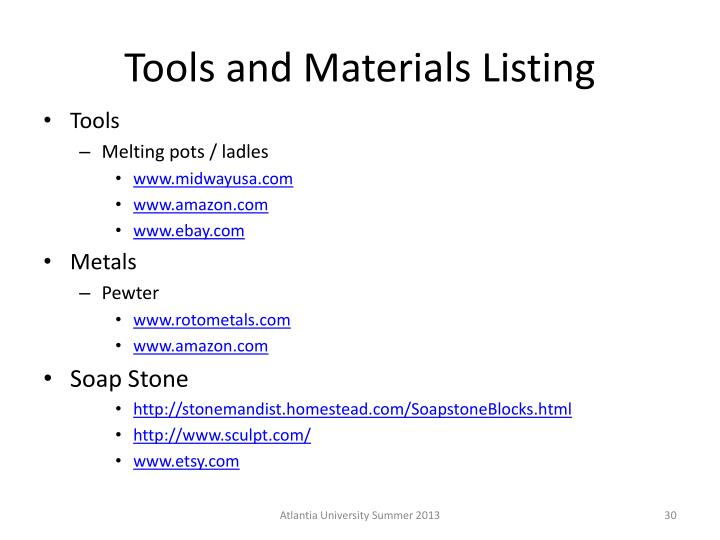 Tools and Materials Listing