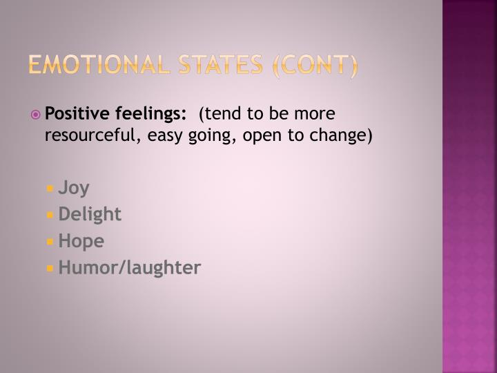 Emotional States (cont)