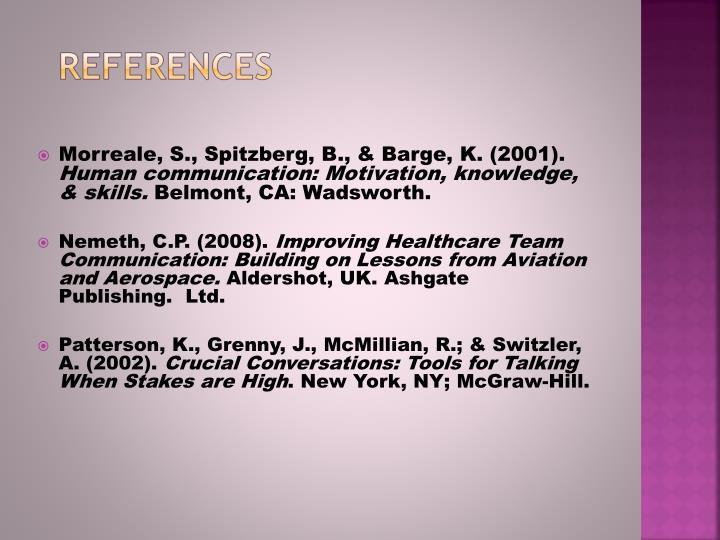 Morreale, S., Spitzberg, B., & Barge, K. (2001).