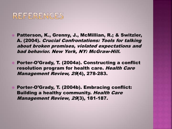 Patterson, K., Grenny, J., McMillian, R.; & Switzler, A. (2004).