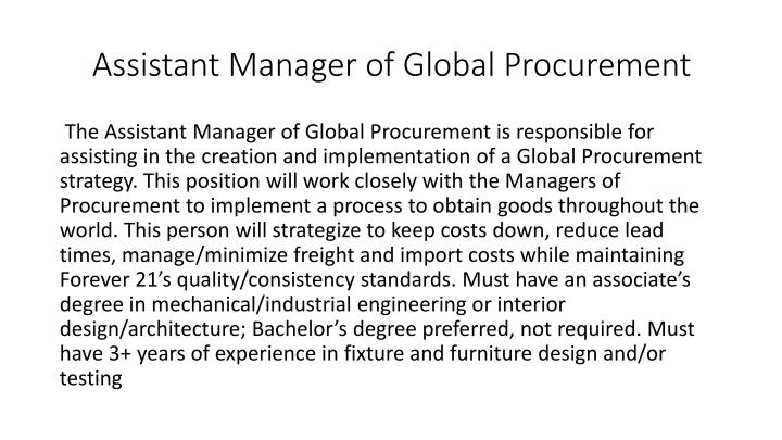 Assistant manager of global procurement