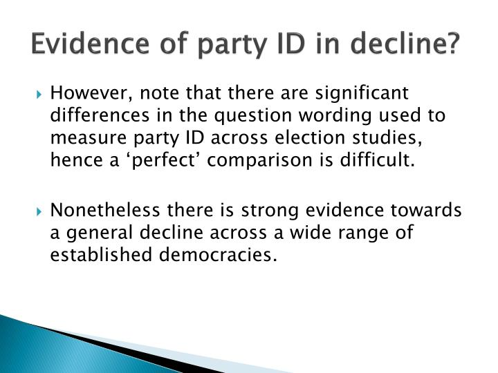 Evidence of party ID in decline?