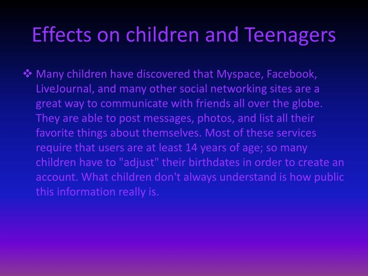 Effects on children and Teenagers