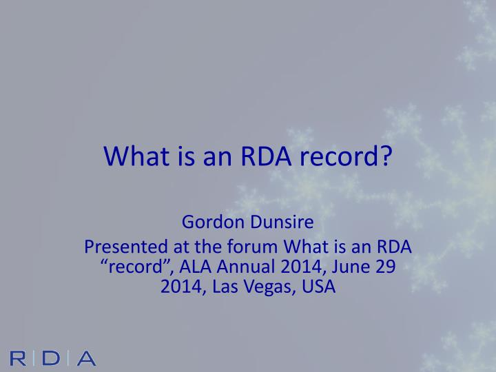 What is an rda record