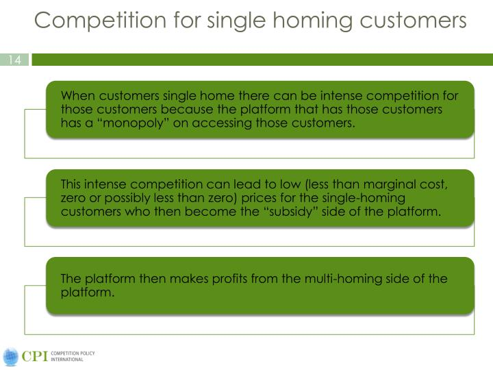 Competition for single homing customers