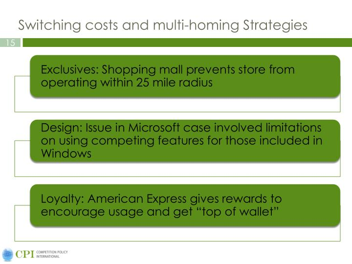 Switching costs and multi-homing Strategies