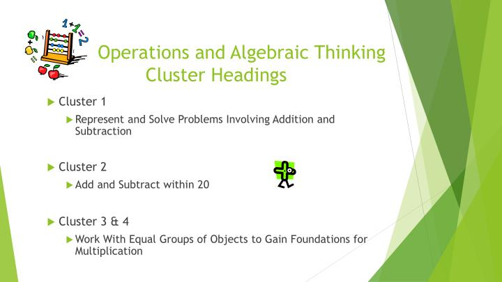 Operations and algebraic thinking cluster headings