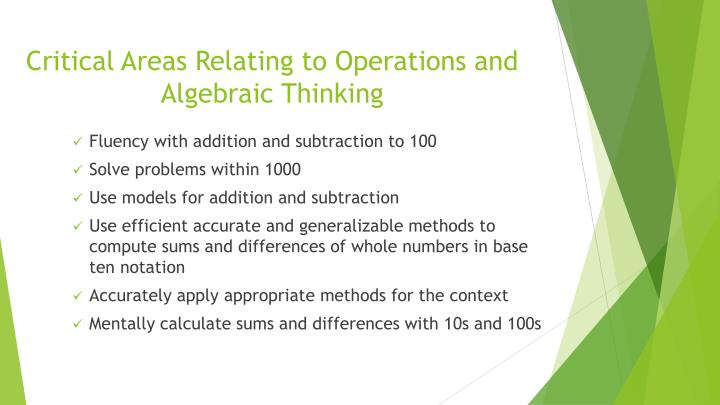 Critical Areas Relating to Operations and Algebraic Thinking