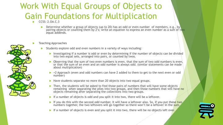 Work With Equal Groups of Objects to Gain Foundations for Multiplication