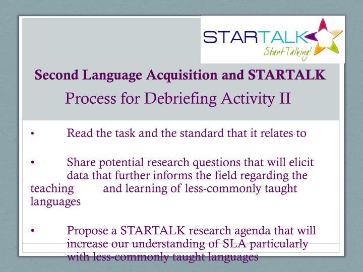 Second Language Acquisition and STARTALK