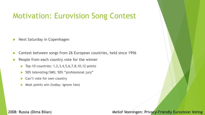 Motivation eurovision song contest