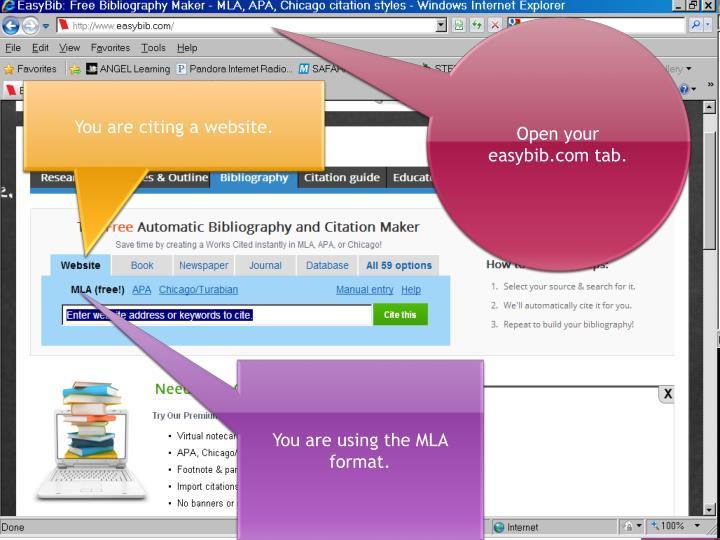 Open your easybib.com tab.