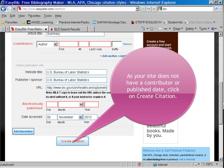 As your site does not have a contributor or published date, click on Create Citation.