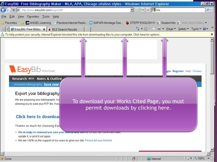 To download your Works Cited Page, you must permit downloads by clicking here.
