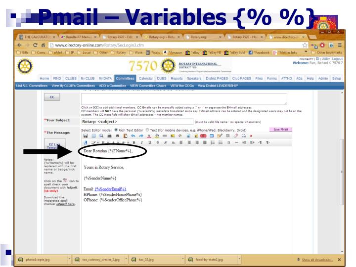 Pmail – Variables {% %}
