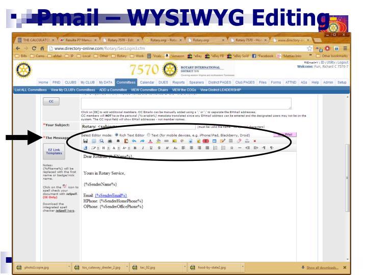 Pmail – WYSIWYG Editing