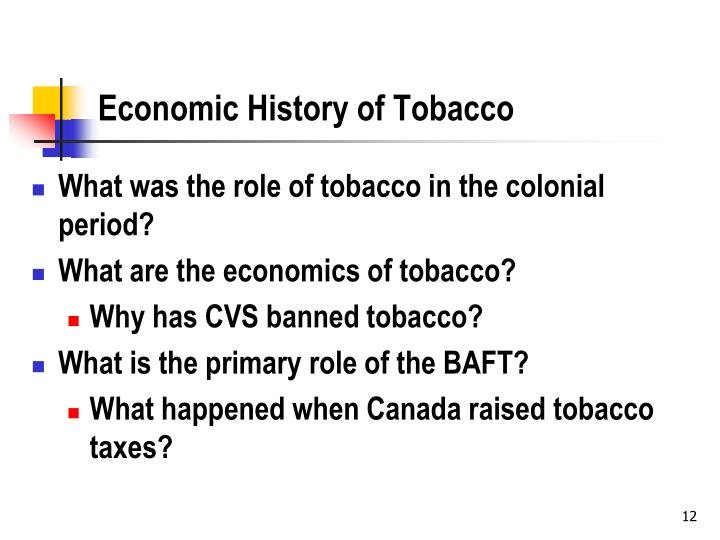 Economic History of Tobacco