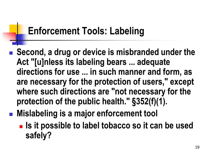 Enforcement Tools: Labeling