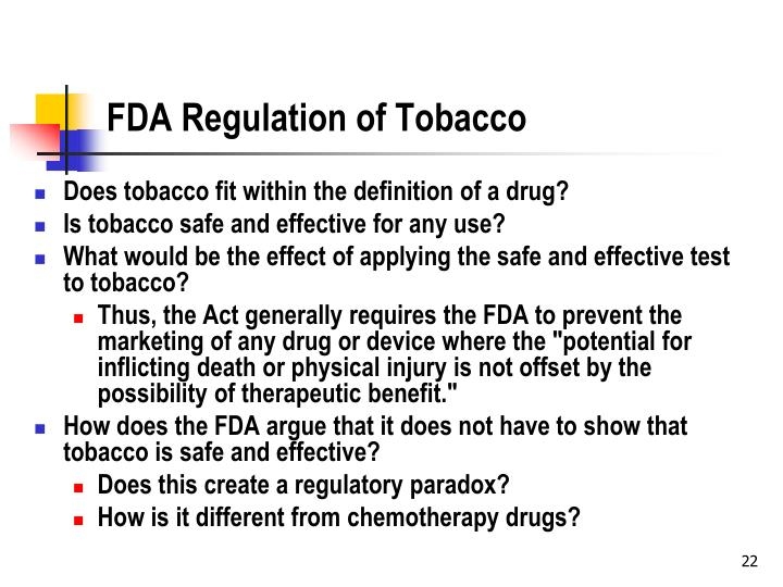 FDA Regulation of Tobacco