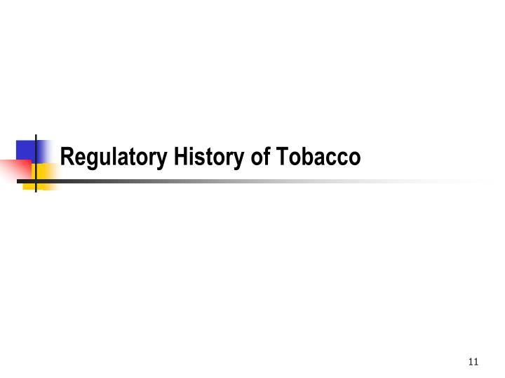 Regulatory History of Tobacco