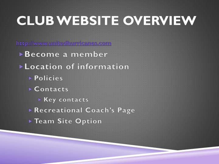Club Website overview
