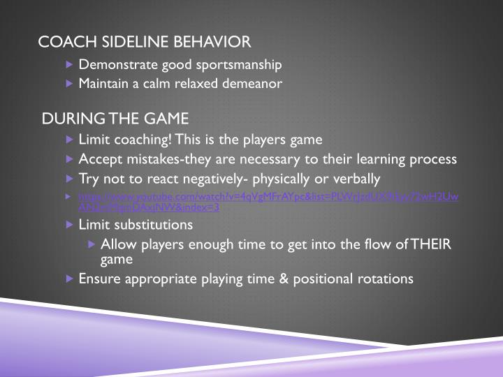 COACH SIDELINE BEHAVIOR