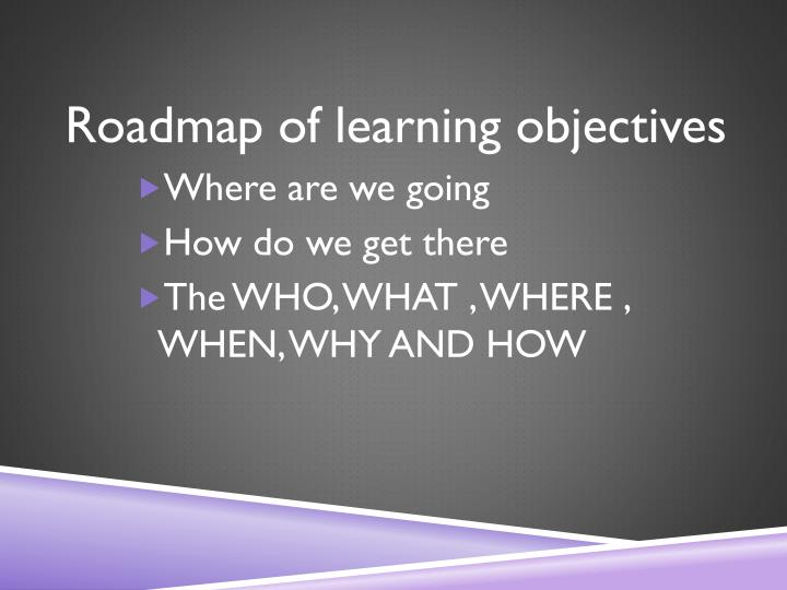 Roadmap of learning objectives