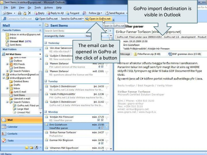 GoPro import destination is visible in Outlook