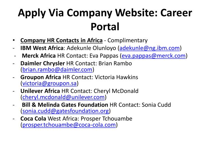 Apply via company website career portal