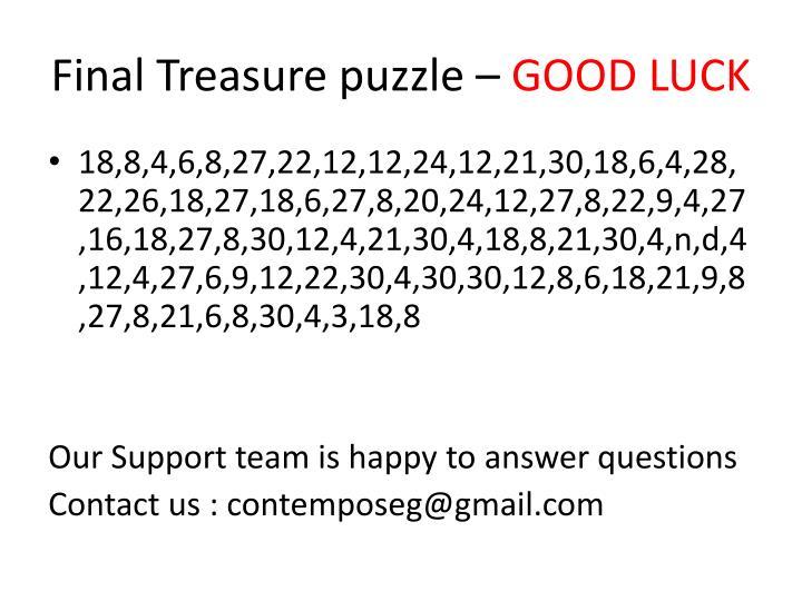 Final Treasure puzzle –