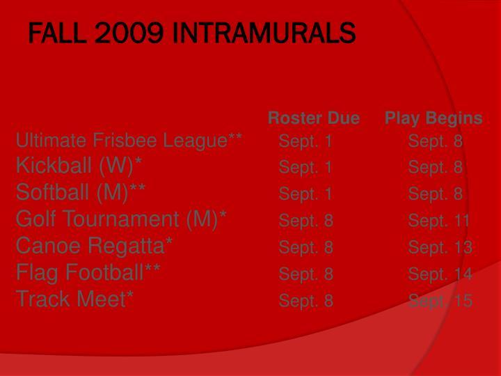 FALL 2009 INTRAMURALS
