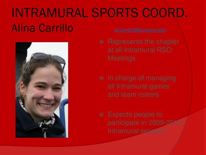 INTRAMURAL SPORTS COORD.