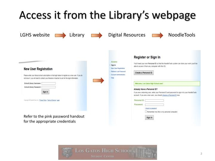 Access it from the library s webpage