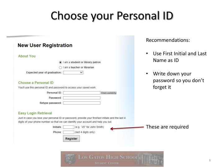 Choose your personal id