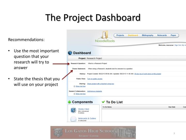 The Project Dashboard