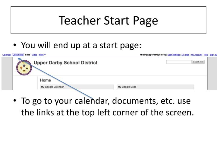 Teacher Start Page