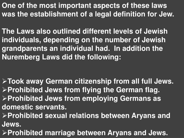 One of the most important aspects of these laws was the establishment of a legal definition for Jew.