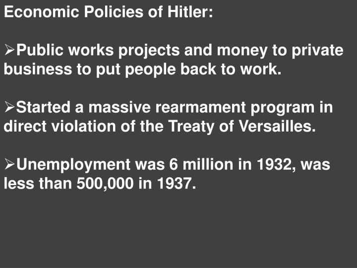Economic Policies of Hitler: