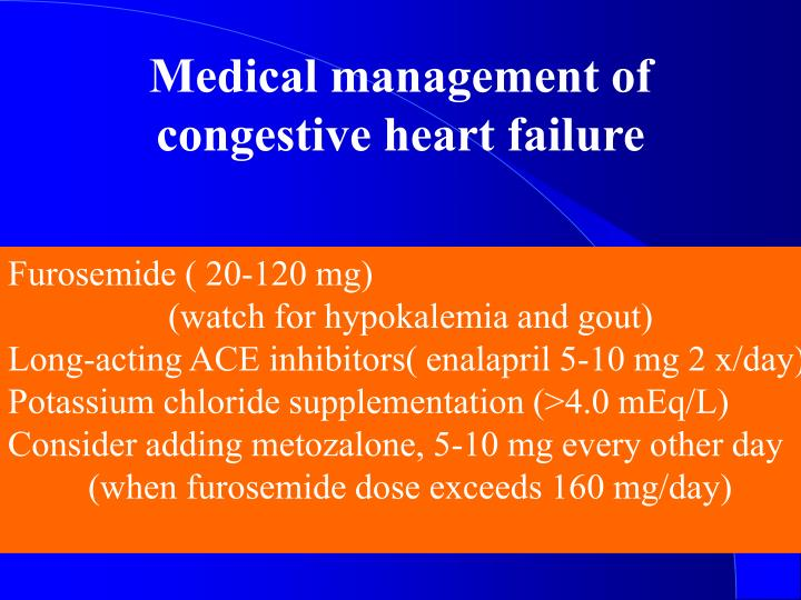Medical management of congestive heart failure