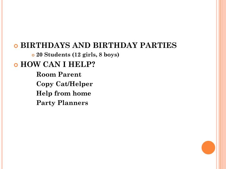 BIRTHDAYS AND BIRTHDAY