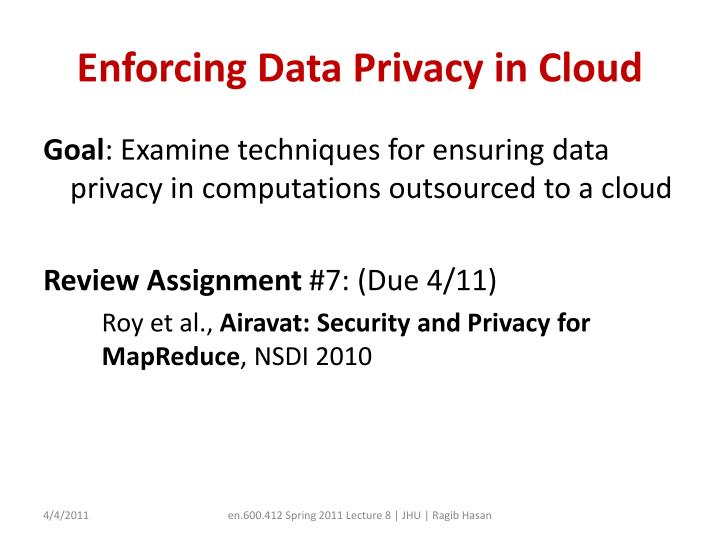 Enforcing data privacy in cloud