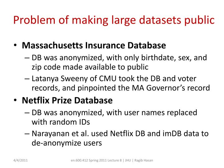 Problem of making large datasets public