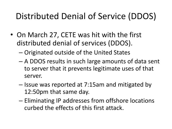 Distributed denial of service ddos