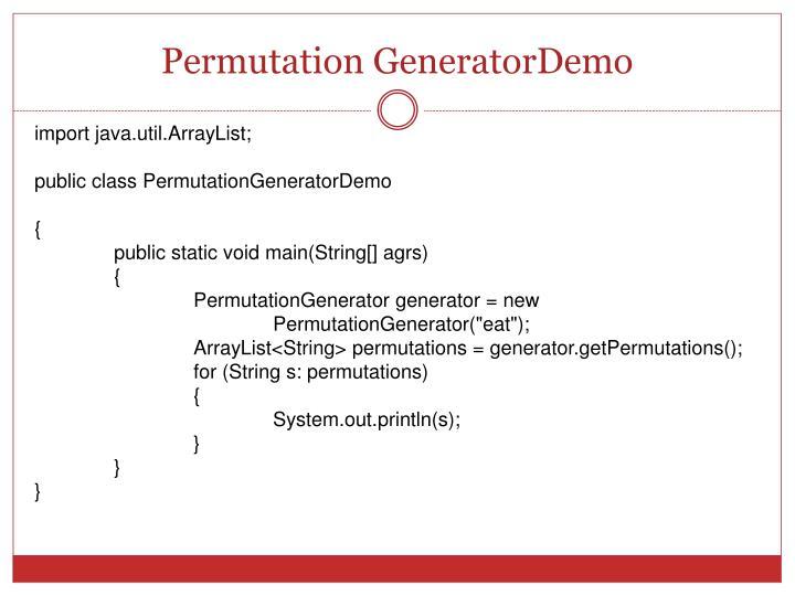 Permutation GeneratorDemo