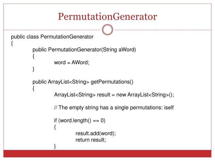 PermutationGenerator
