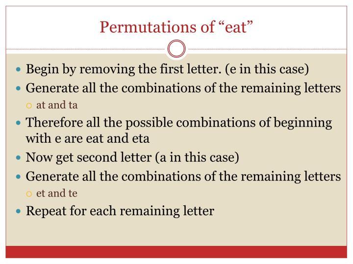 """Permutations of """"eat"""""""