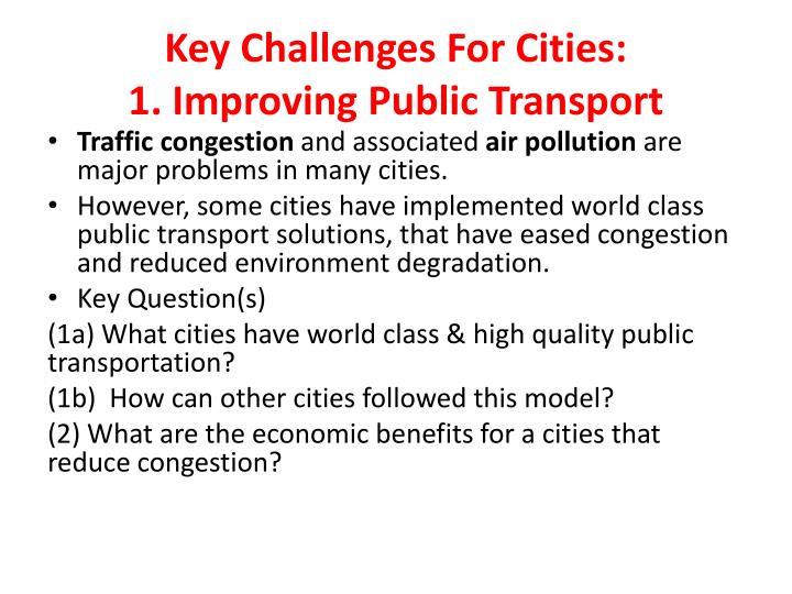 Key Challenges For Cities:
