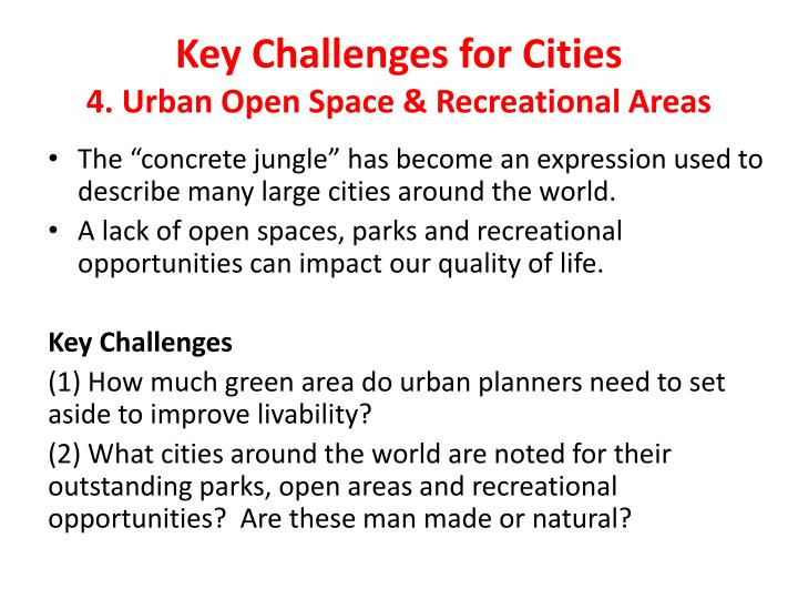 Key Challenges for Cities
